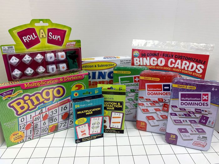 Playing cards, math dice, bingo games, dominoes