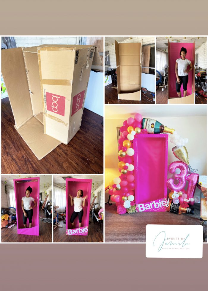 Life-size Barbie box made by Events by Jamila